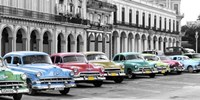 Cars Parked in Line, Havana, Cuba Fine-Art Print