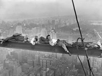 Construction Workers Resting on Steel Beam Above Manhattan, 1932 Fine-Art Print