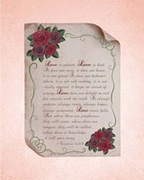 Corinthians 13:4-8 Love is Patient - Rose Border Pink Fine-Art Print