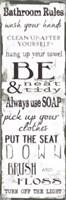Bathroom Rules White Black Fine-Art Print
