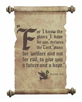 Jeremiah 29:11 For I know the Plans I have for You (Dove on Scroll) Fine-Art Print