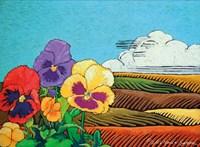 Colorful Pansies in Field Fine-Art Print