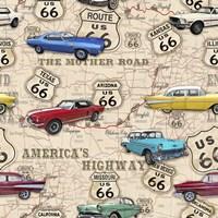Route 66 Muscle Car Map Fine-Art Print