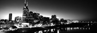 Skylines at night along Cumberland River, Nashville, Tennessee Fine-Art Print