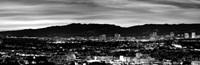 High angle view of a city at dusk, Culver City, Santa Monica Mountains, California Fine-Art Print