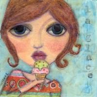Big Eyed Girl Ice Cream Cone Fine-Art Print