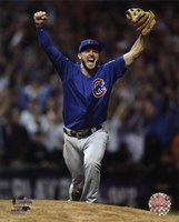 Kris Bryant celebrates the final out of Game 7 of the 2016 World Series Fine-Art Print