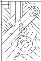 Pop Art Deco Panel 1 Lineart Fine-Art Print