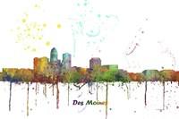 Des Moines Iowa Skyline Multi Colored 1 Fine-Art Print