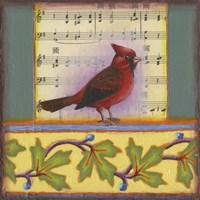 Cardinal on Music Notes 1 Fine-Art Print