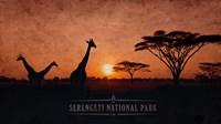 Vintage Sunset with Giraffes in Serengeti National Park, Africa Fine-Art Print