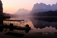 Vintage Boat on River in Guangxi Province, China, Asia Fine-Art Print