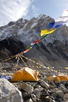 Tents of mountaineers along Khumbu Glacier, Mt Everest, Nepal Fine-Art Print
