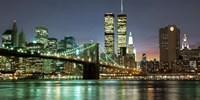 The Brooklyn Bridge and Twin Towers at Night Fine-Art Print