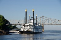 Paddlewheel boat and casino, Mississippi River, Mississippi Fine-Art Print