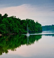 Sailboat Sailing Down the Tombigbee River in Mississippi Fine-Art Print