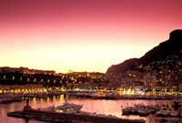 Harbor at Sunset, Monte Carlo, Cote D'Azure, Monaco Fine-Art Print