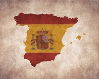 Map with Flag Overlay Spain Fine-Art Print
