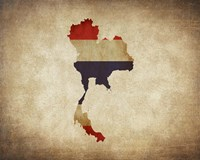 Map with Flag Overlay Thailand Fine-Art Print