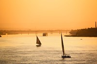 Pair of Falukas and Sightseers on Nile River, Luxor, Egypt Fine-Art Print