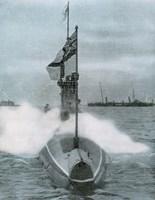 World War I (1914-1918). The British submarine E-8. Sank a German destroyer in the North Sea Fine-Art Print