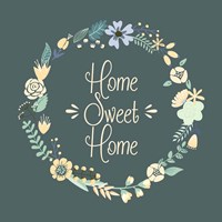 Home Sweet Home Floral Teal Fine-Art Print