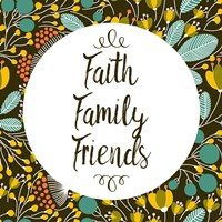 Faith Family Friends Retro Floral Black Fine-Art Print