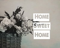 Home Sweet Home Flower Basket Black and White Fine-Art Print