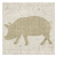 Burlap Farm Animals 3 Fine-Art Print