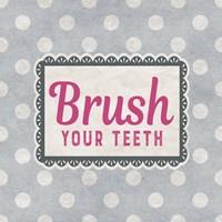 Brush Your Teeth Gray Pattern Fine-Art Print