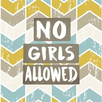 No Girls Allowed Chevron Pattern Yellow Fine-Art Print