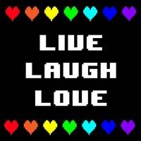 Live Laugh Love -  Black with Pixel Hearts Fine-Art Print
