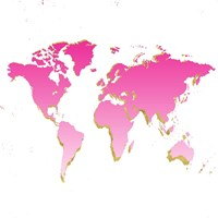 World Map Pink & Gold Fine-Art Print