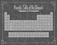 Periodic Table Gray and Teal Leaf Pattern Dark Fine-Art Print