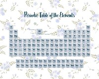 Periodic Table Of The Elements Blue Floral Fine-Art Print