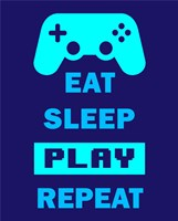 Eat Sleep Game Repeat  - Blue Fine-Art Print