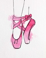 Ballet Shoes En Pointe Pink Watercolor Part III Fine-Art Print