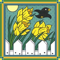 Daffodils 3 With Kernal The Crow Fine-Art Print