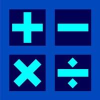 Math Symbols Square - Blue Fine-Art Print