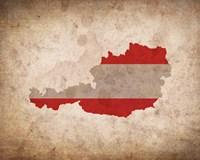 Map with Flag Overlay Austria Fine-Art Print