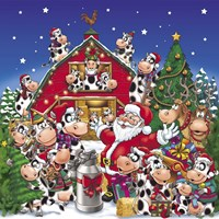 Christmas Party Cows Fine-Art Print