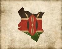 Map with Flag Overlay Kenya Fine-Art Print