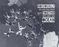 Together We Are An Ocean - Skydiving Team Grayscale Fine-Art Print