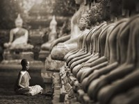 Young Buddhist Monk praying, Thailand (sepia) Fine-Art Print