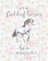 Be A Unicorn Floral Wood Fine-Art Print