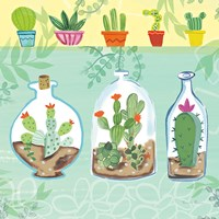Cacti Garden I no Birds and Butterflies Fine-Art Print