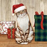 Christmas Kitty on Planked Wood Fine-Art Print