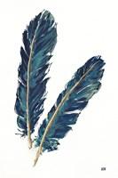 Gold Feathers IV Indigo Fine-Art Print