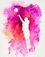 Basketball Girl Watercolor Silhouette Inverted Part IV Fine-Art Print