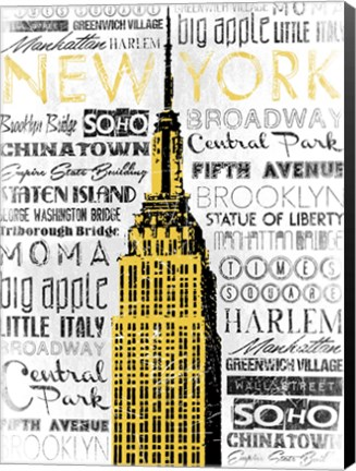 Framed New York - Yellow Print
